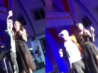 Đi diễn ở Nhật, Văn Mai Hương chếnh choáng khi bị du học sinh nam nhảy bổ lên sân khấu cưỡng hôn