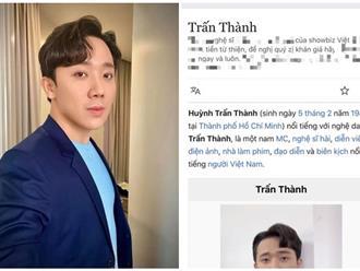 Hậu lùm xùm từ thiện, Trấn Thành bị kẻ xấu thay đổi thông tin trên Wikipedia