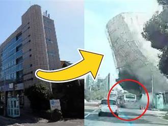 Hàn Quốc: Khủng khiếp tòa nhà 5 tầng đổ sập trong vài giây, 'chôn sống' 17 người cùng một chiếc xe buýt