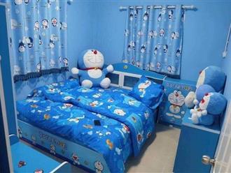 'Hoa cả mắt' với căn phòng 'xanh lè', tràn ngập tuổi thơ với chú mèo máy Doraemon