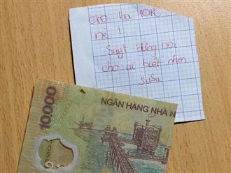 Tờ 10 nghìn đồng của cô bé lớp 5 'đốn tim' cư dân mạng: 'Cho ba 10 nghìn nè, đừng nói cho ai biết nhen'
