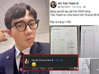 Trấn Thành vừa tung sao kê, tài khoản mang tên nữ CEO Đại Nam để lại 1 dòng bình luận đã hút hơn '3k like', chuyện gì đây?