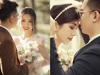 """Á hậu Thuý An tung ảnh cưới lung linh trước thềm hôn lễ: Nhan sắc cô dâu """"đỉnh của chóp"""", e ấp bên chú rể hơn 12 tuổi!"""