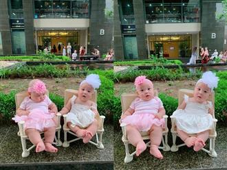 Bà xã diện váy công chúa cho quý tử sinh đôi, MC Thành Trung vội nhắc nhở
