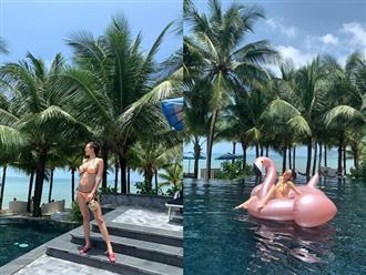 Bụng 'vượt mặt' ở tháng thứ 6 thai kỳ, MC Phương Mai vẫn tự tin diện bikini khoe vòng 1 ngồn ngộn
