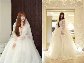 Giữa tin đồn 'ăn cơm trước kẻng', Thu Thủy khoe ảnh thử váy cưới xinh đẹp nhưng netizen chỉ để ý đến chi tiết bất thường này