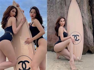 Chi Pu và Ngọc Trinh diện bikini đọ sắc trên bãi biển, thi nhau khoe dáng với ván trượt 250 triệu