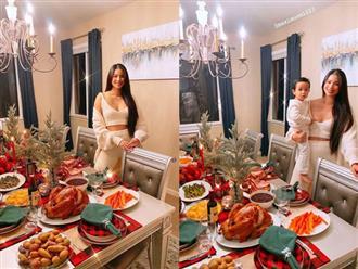 Choáng với bàn tiệc mừng lễ Tạ Ơn của Phạm Hương trong biệt thự ở Mỹ: Nhìn đồ ăn và bày trí thịnh soạn chẳng khác gì nhà hàng!