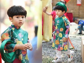 Con trai Ngọc Lan diện áo dài khoe vẻ soái ca đón Tết, dân mạng thi nhau chờ 'góp gạo'