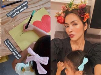 """Công chúa nhỏ nhà Hà Tăng mới 3 tuổi đã biết viết chữ và làm thiệp tặng bố khiến mẹ phải thốt lên: """"Hãnh diện quá"""""""
