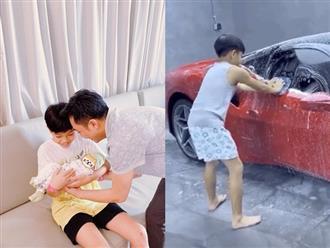 Vừa mới có em, Subeo liền ra dáng anh hai, không ngại xắn tay rửa xe giúp bố