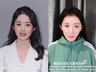 Đăng clip cổ vũ chống dịch Covid-19, Triệu Lệ Dĩnh và Dương Mịch đều khiến fan phát hoảng vì gương mặt kém sắc
