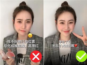 Để không thành trò hề do đánh má hồng quá tay, nàng hot girl Trung Quốc đã áp dụng một thủ thuật siêu đơn giản