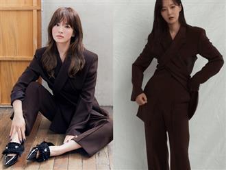 """Diện suit ra dáng """"soái tỷ"""" nhưng Song Hye Kyo lại lộ nhược điểm chân ngắn khi đụng độ Yuri (SNSD)"""