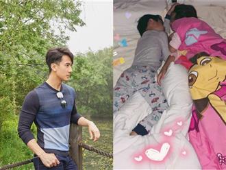 Giữa showbiz loạn lạc tin ngoại tình, ảnh Ngô Tôn chụp lén 2 con ngủ say không nỡ gọi dậy khiến fan ấm lòng