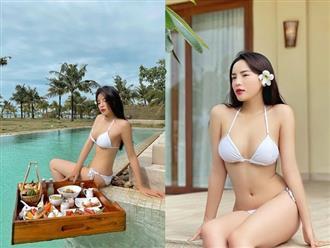 Hoa hậu Kỳ Duyên diện bikini nhỏ xíu 'đốt mắt' khán giả với vòng 1 cả mét