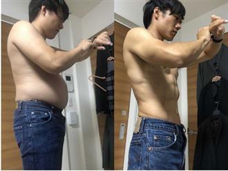 """Học ngay bài tập 4 phút giúp chàng trai người Nhật từ """"bụng bia"""" hóa body 6 múi cực phẩm"""
