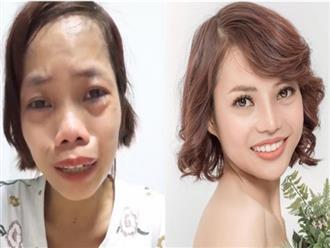 """Không còn giấu giếm, mẹ đơn thân khóc trên sóng livestream chính thức khoe ngoại hình xinh đẹp sau 1 tháng """"đập đi xây lại"""""""