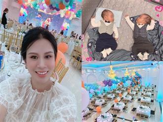 Không gian bữa tiệc đầy tháng siêu hoành tráng của cặp song sinh nhà MC Thành Trung