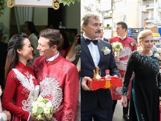 Lễ rước dâu của Á hậu Hoàng Oanh: Hội bạn thân showbiz lộ diện, mẹ chồng ngoại quốc gây bất ngờ khi diện áo dài Việt Nam