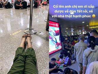 Nổi tiếng là thế nhưng H'Hen Niê vẫn chọn mua ghế thường, ngồi bệt dưới đất chờ chuyến bay để kịp về quê ăn Tết