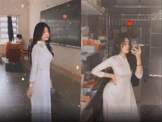 Nữ sinh cấp 3 diện áo dài trắng khoe đường cong cơ thể chuẩn chỉnh nhưng gương mặt xinh như thiên thần mới khiến các anh đổ đứ đừ