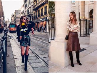 Phối chân váy da cho set đồ mùa thu