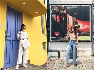 Phối đồ mùa hè với quần jeans ống suông