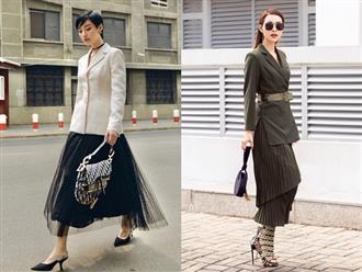 Tuyệt chiêu mix áo blazer thanh lịch của sao Việt ngày giao mùa