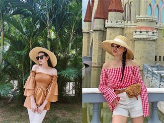 Váy hoa, áo trễ vai và váy hai dây được nhiều mỹ nhân Việt chọn lựa khi mix đồ