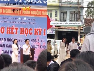 Về thăm trường cũ cùng Trường Giang, Nhã Phương lộ nhan sắc thật qua ảnh chụp vội, chưa chỉnh sửa