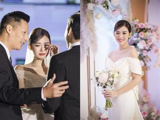 Xuýt xoa bộ ảnh đẹp trong đám cưới Á hậu Tường San: Cô dâu xinh nức nở khi bật khóc, bóng lưng chú rể gây chú ý lớn