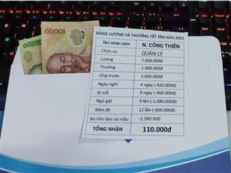 Dân mạng 'rớt nước mắt' với bảng lương thưởng Tết 110.000 đồng, sự thật phía sau thế nào?