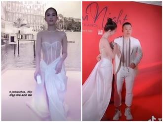 Bất chấp dư luận, Ngọc Trinh tiếp tục 'quấn khăn, xuyên thấu' lộ nửa thân trên tại LHP Cannes