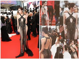 Bộ ảnh Ngọc Trinh mặc lố lăng 'hở không chừa chỗ nào', lộ vùng nhạy cảm trước hàng ngàn ánh mắt tại LHP Cannes 2019
