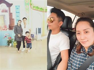 Bụng bầu vượt mặt, Khánh Thi vẫn rạng rỡ cùng chồng con đi du xuân cầu bình an