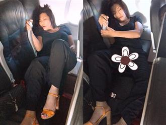Cindy Thái Tài bị soi dáng ngủ 'kém duyên' như Hoa hậu Kỳ Duyên trên máy bay