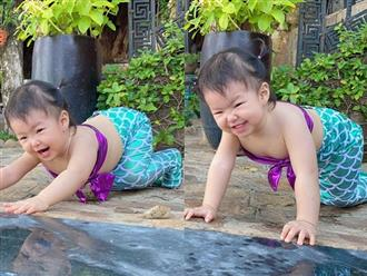 Con gái Lê Phương hóa nàng tiên cá đón trung thu, nhìn biểu cảm cưng muốn xỉu