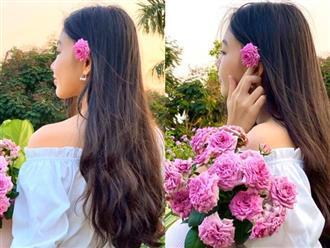 """""""Cực phẩm"""" vườn hồng: Con gái MC Quyền Linh khoe tóc dài thướt tha, góc nghiêng mỹ miều khiến dân tình mê đắm"""