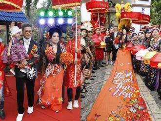Tổ chức đám cưới lần thứ 10 với Thanh Bạch, 'bà trùm' Thúy Nga gây choáng khi diện áo dài 5m