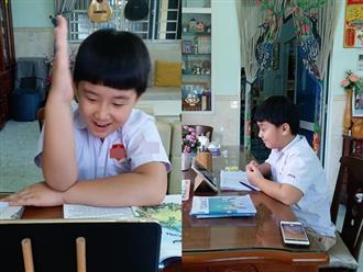 Đáng yêu như con trai Lê Phương, quyết mặc đồng phục của trường dù chỉ học online lại nhà