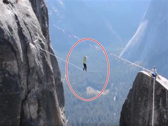 'Đứng tim' clip thanh niên liều lĩnh đi trên dây giữa vực sâu không có đồ bảo hộ, đoạn kết khiến ai nấy lạnh người