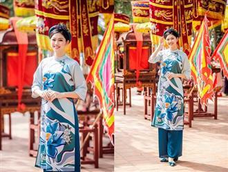 Dù diện áo dài suông rộng, á hậu Thanh Tú vẫn để lộ bụng to