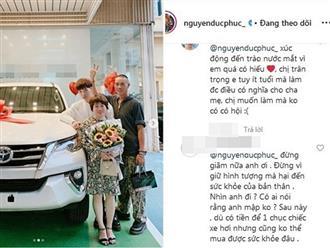 Đức Phúc 'bóp mồm bóp miệng' mua xe cho bố, fans cầu xin đừng giảm cân