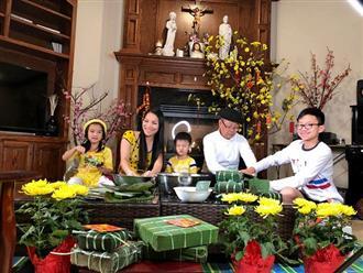 Gia đình Hồng Ngọc quây quần gói bánh chưng sớm tại Mỹ