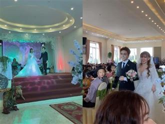 Giữa tin đồn bầu bí, lộ ảnh Thu Thủy nắm tay bạn trai kém 10 tuổi bước vào lễ đường kết hôn