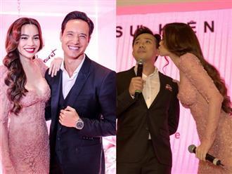 Hà Hồ diện váy táo bạo khoe vòng một, nhẹ nhàng hôn phớt Kim Lý tại sự kiện