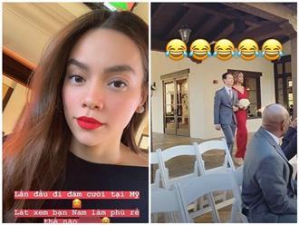 Hồ Ngọc Hà đi dự đám cưới mà bạn trai Kim Lý làm phù rể
