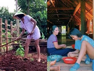 Hoa hậu H'Hen Niê gây 'sốt' với hình ảnh mang dép lào, mặc đồ bộ cùng mẹ làm việc nhà nông