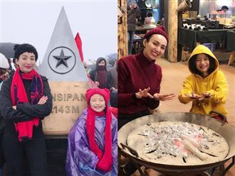 Hoa hậu Ngọc Diễm cùng con gái 8 tuổi lên đỉnh Fansipan khi trời -4 độ C